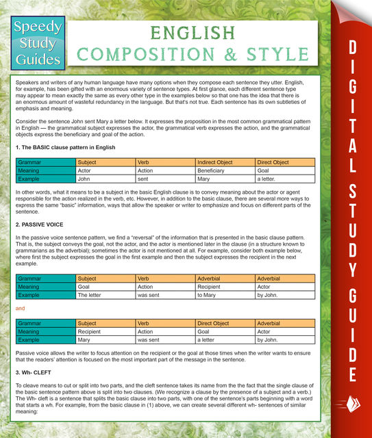 English Composition And Style (Speedy Study Guides), Speedy Publishing