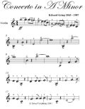 Concerto In A Minor Easy Violin Sheet Music, Edvard Grieg