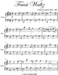 Faust Waltz Easy Piano Sheet Music, Charles Gounod
