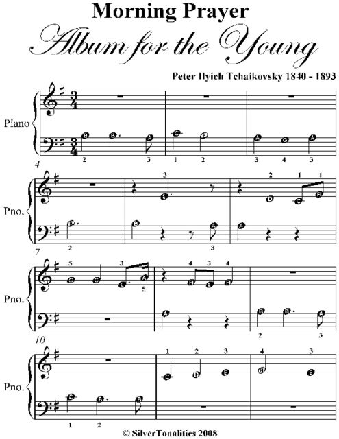 Morning Prayer Album for the Young Beginner Piano Sheet Music, Peter Ilyich Tchaikovsky