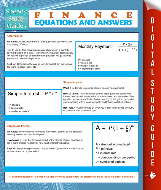 Finance Equations And Answers (Speedy Study Guides), Speedy Publishing