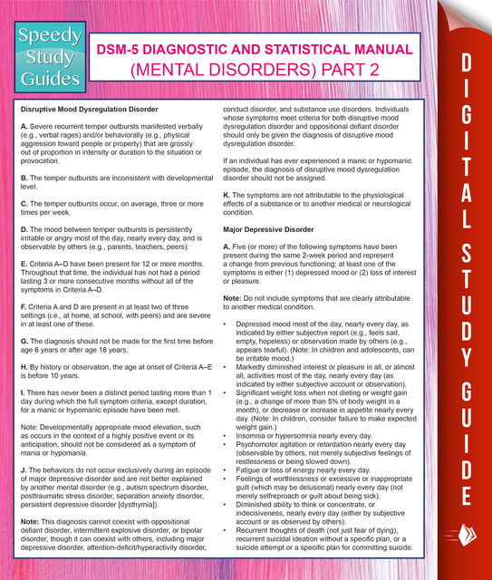 DSM-5 Diagnostic and Statistical Manual (Mental Disorders) Part 2, Speedy Publishing