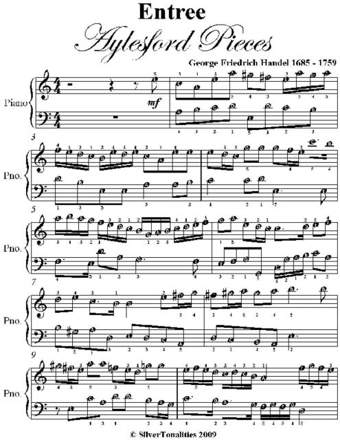 Entry Aylesford Pieces Easy Piano Sheet Music, George Friedrich Handel