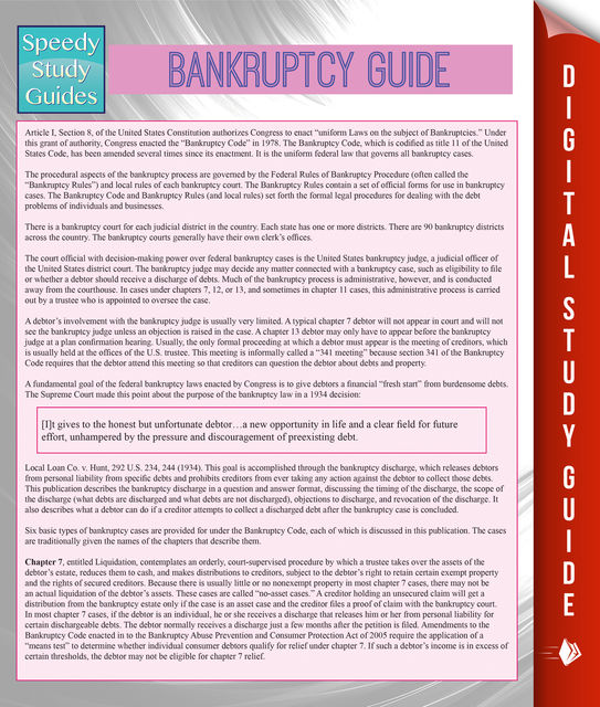 Bankruptcy Guide (Speedy Study Guides), Speedy Publishing