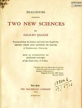 Dialogues Concerning Two New Sciences of Galileo Galilei, Galileo Galilei, Steven Handsen