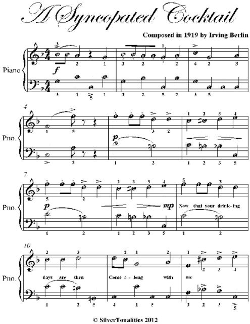 A Syncopated Cocktail Easy Piano Sheet Music, Irving Berlin