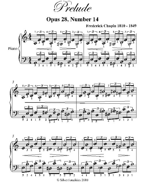 Prelude Opus 28 Number 14 Easy Piano Sheet Music, Frederick Chopin
