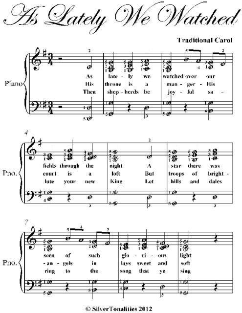 As Lately We Watched Elementary Piano Sheet Music, Traditional Carol