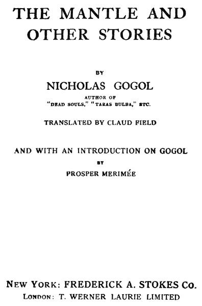The Mantle and Other Stories, Nikolai Gogol