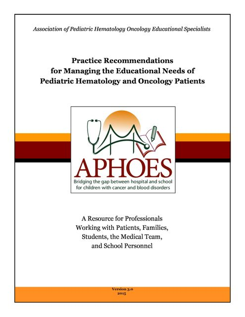 Practice Recommendations, Association of Pediatric Hematology Oncology Educational Specialists