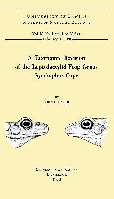 A Taxonomic Revision of the Leptodactylid Frog Genus Syrrhophus Cope, Lynch John