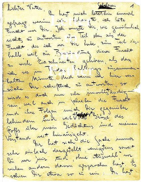 Letter to My Father, Franz Kafka