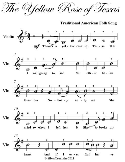 Yellow Rose of Texas Easy Violin Sheet Music, Traditional American Folk Song