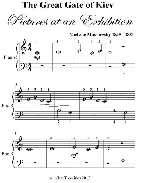 Great Gate of Kiev Pictures at an Exhibition Beginner Piano Sheet Music, Modeste Mussorgsky