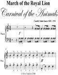 March of the Royal Lion Carnival of the Animals Easy Piano Sheet Music, Camille Saint Saens