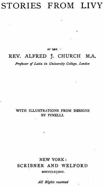 Stories From Livy, Alfred John Church