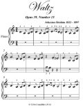 Waltz Opus 39 Number 15 Beginner Piano Sheet Music, Johannes Brahms