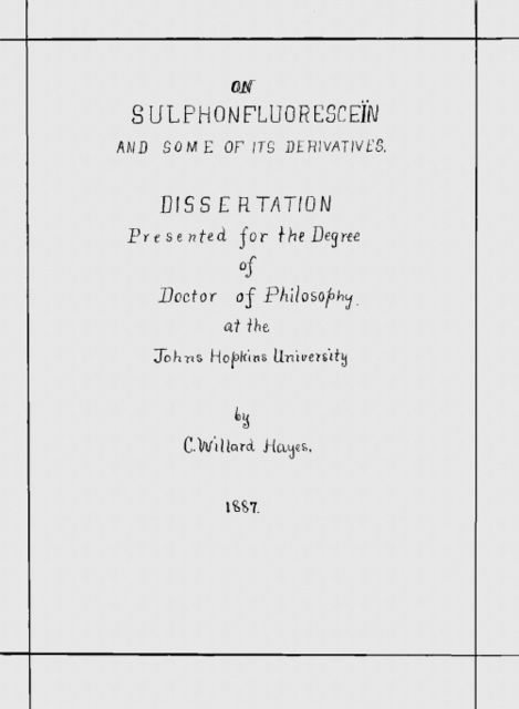On Sulphonfluoresceïn and some of its Derivatives, C.W. Hayes