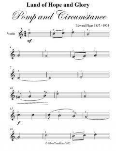 Land of Hope and Glory Pomp and Circumstance Easy Violin Sheet Music, Edward Elgar