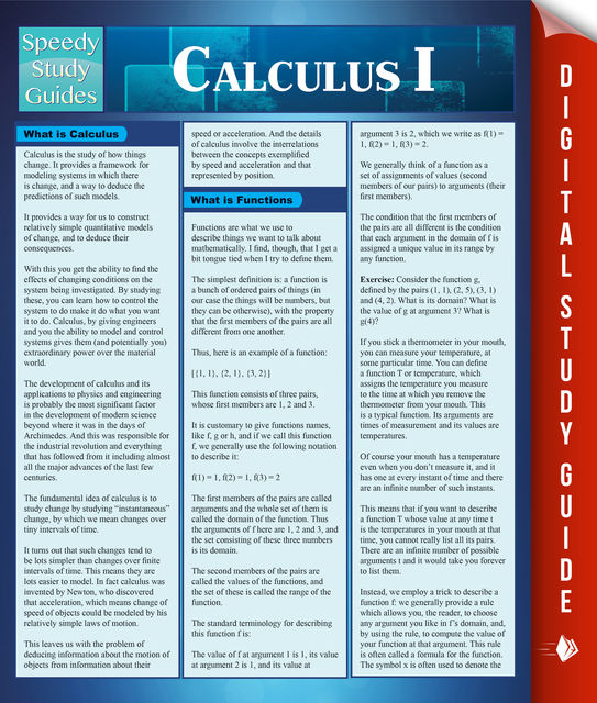 Calculus 1, Speedy Publishing
