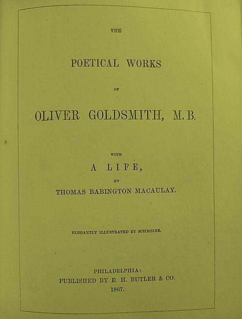 The Complete Poetical Works of Oliver Goldsmith, Oliver Goldsmith