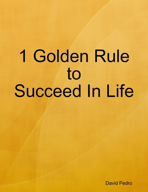 1 Golden Rule to Succeed In Life, David Pedro