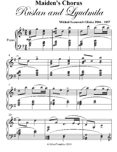 Maiden's Chorus Ruslan and Lyudmila Intermediate Piano Sheet Music, Mikhail Ivanovich Glinka