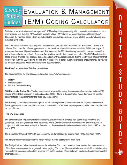 Evaluation & Management (E/M) Coding Calculator (Speedy Study Guides), Speedy Publishing