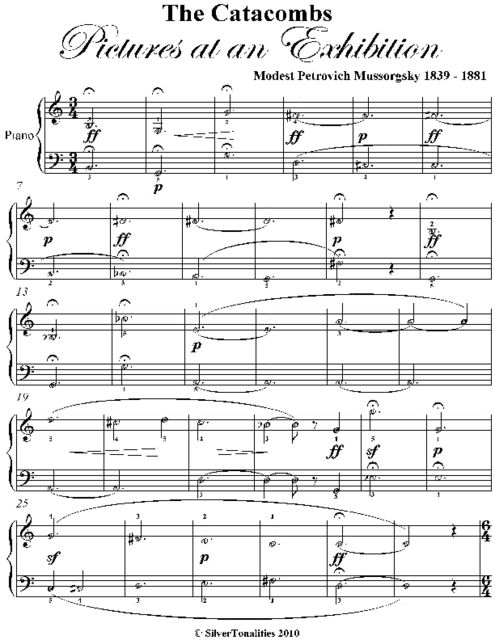 Catacombs Pictures At an Exhibition Easy Piano Sheet Music, Modest Petrovich Mussorgsky