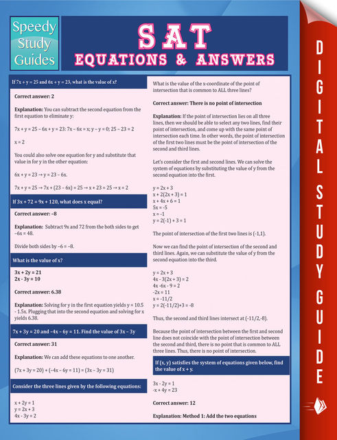 SAT Equations & Answers (Speedy Study Guide), Speedy Publishing