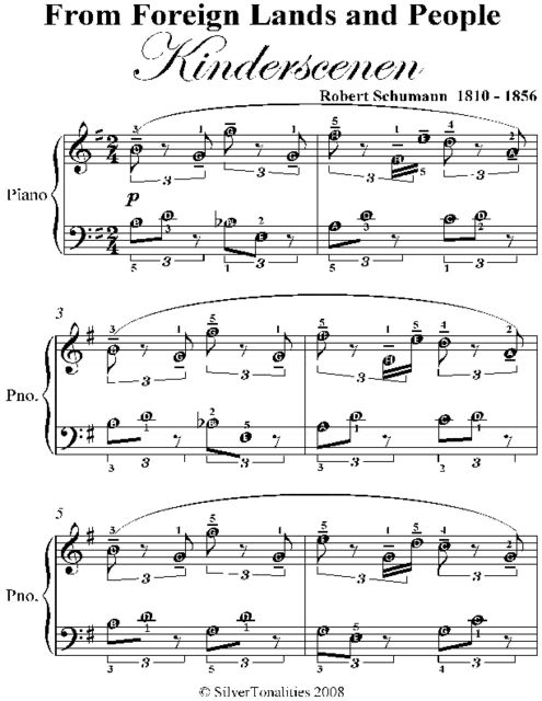 From Foreign Lands and People Kinderscenen Easy Piano Sheet Music, Robert Schumann