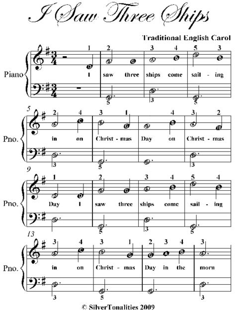 I Saw Three Ships Easiest Piano Sheet Music, Traditional English Carol