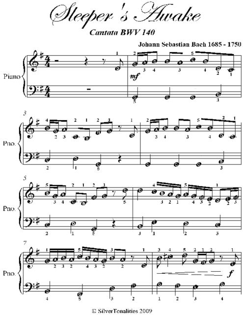 Sleepers Awake Easy Piano Sheet Music by Johann Sebastian
