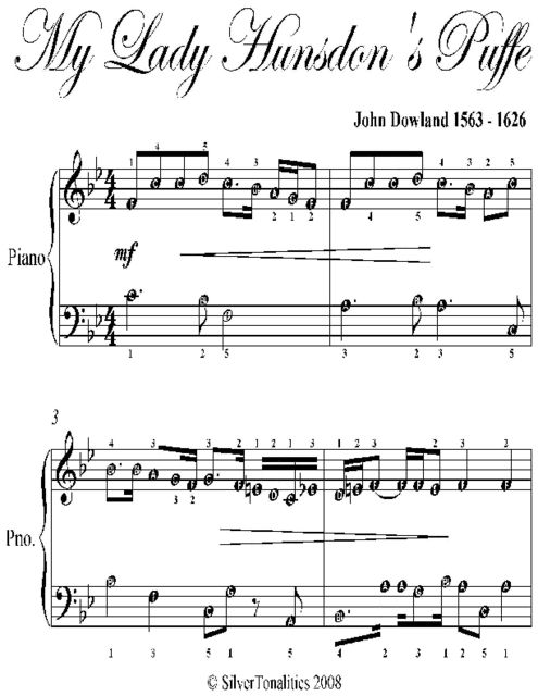 My Lady Hunsdon's Puffe Easy Piano Sheet Music, John Dowland