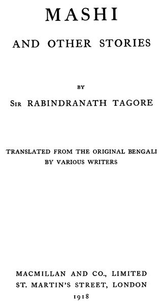 Mashi and Other Stories, Rabindranath Tagore