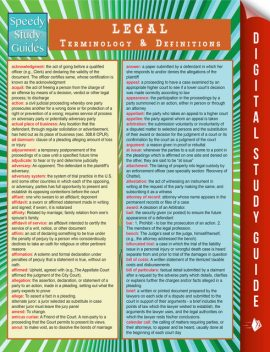 Legal Terminology and Definitions (Speedy Study Guide), Speedy Publishing