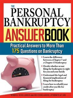 Personal Bankruptcy Answer Book, Wendell Schollander