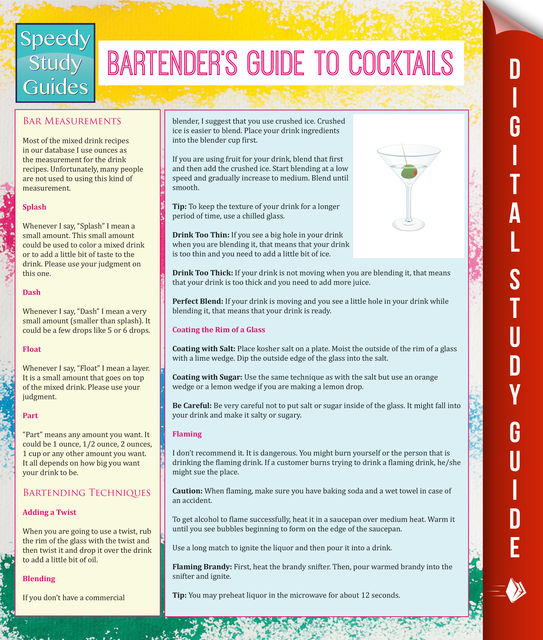 Bartender's Guide To Cocktails (Speedy Study Guides), Speedy Publishing