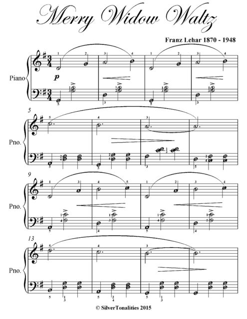 Merry Widow Waltz Elementary Piano Sheet Music, Franz Lehar