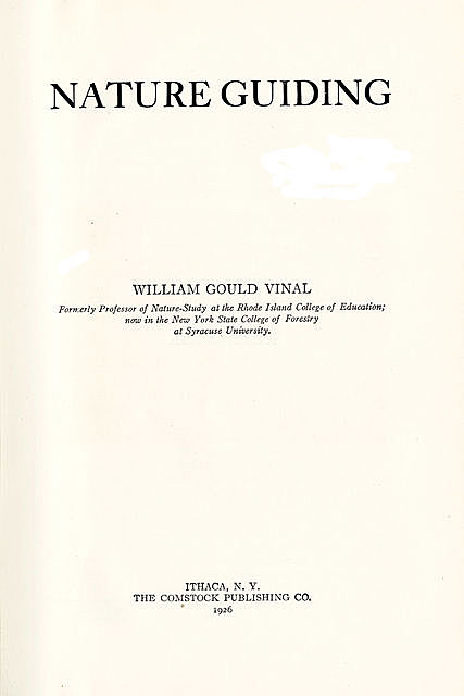 Nature Guiding, William Gould Vinal