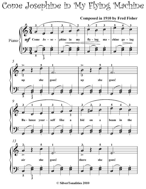 Come Josephine In My Flying Machine Easiest Piano Sheet Music, Fred Fisher