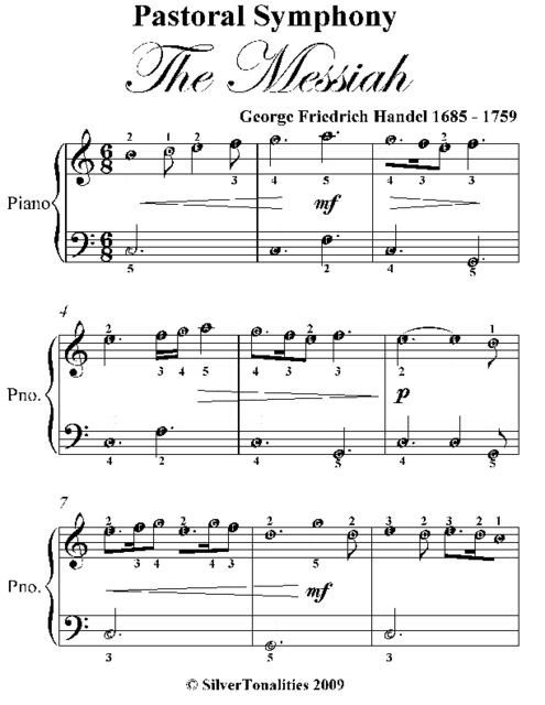 Pastoral Symphony the Messiah Easiest Piano Sheet Music, George Friedrich Handel