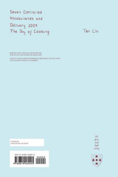 Seven Controlled Vocabularies and Obituary 2004. The Joy of Cooking, Tan Lin