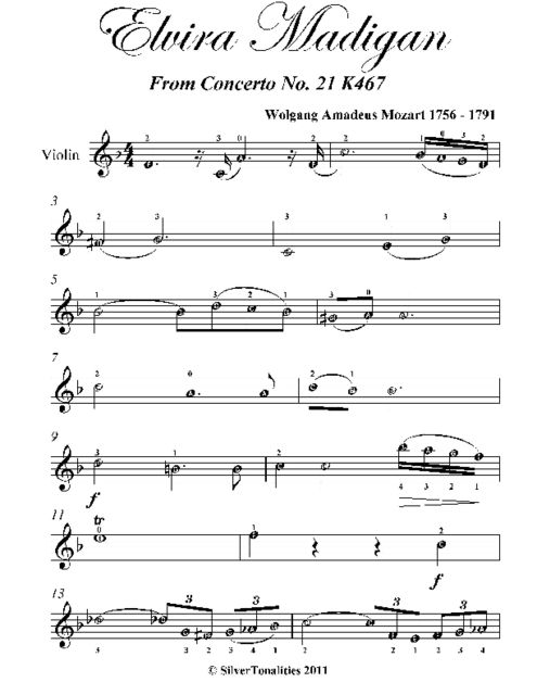 Elvira Madigan Easy Violin Sheet Music by Wolfgang Amadeus Mozart