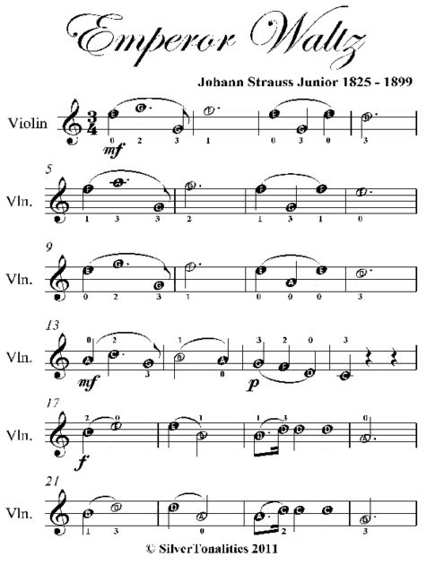 Emperor Waltz Easy Violin Sheet Music, Johann Strauss Junior