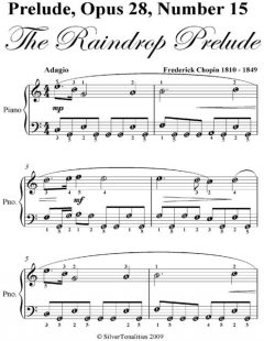 Raindrop Prelude Opus 28 Number 15 Easiest Piano Sheet Music, Frederick Chopin