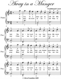 Away In a Manger Easiest Piano Sheet Music, Traditional Carol