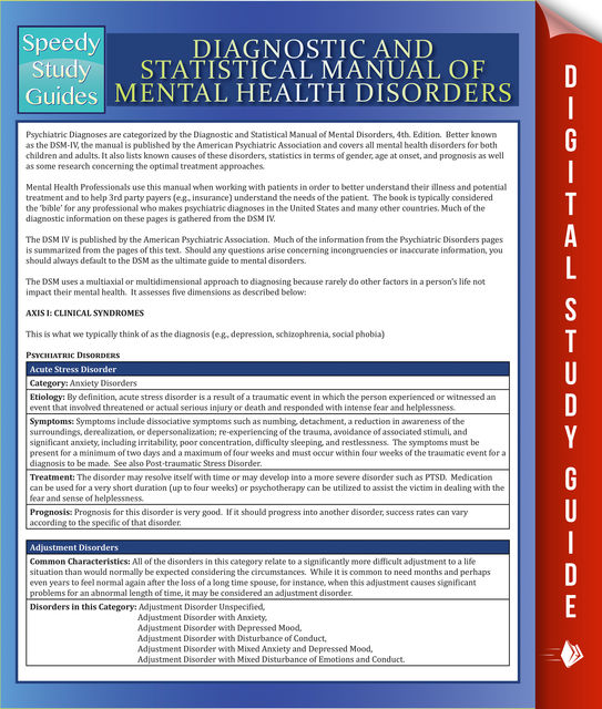 Diagnostic and Statistical Manual of Mental Health Disorders, Speedy Publishing