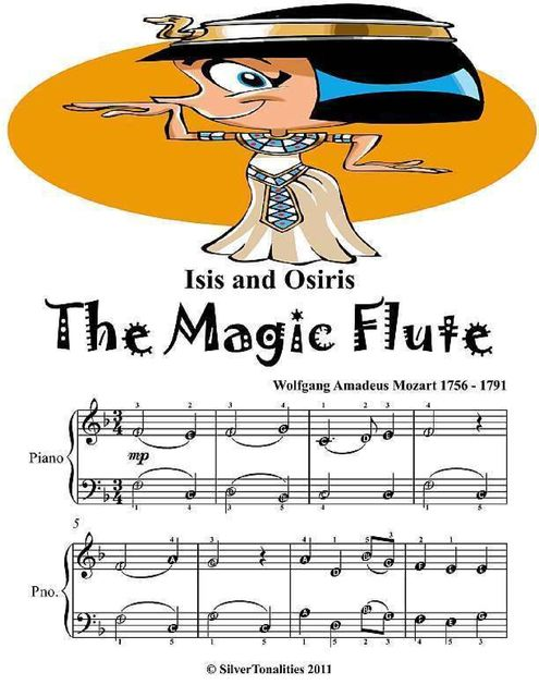 Isis and Osiris the Magic Flute Easy Piano Sheet Music, Wolfgang Amadeus Mozart