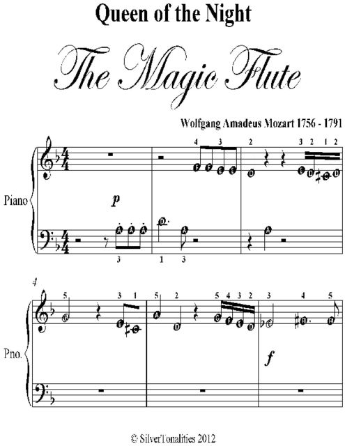 Queen of the Night the Magic Flute Beginner Piano Sheet